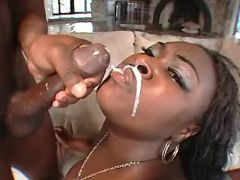 Horny black BBW gets cum on lips