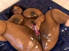 Black fat slut dildofuck and licked