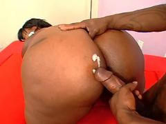Black bitch gets cum on huge ass